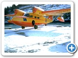 Another air service, Kodiak Airways, owned by Bob Hall acquired this Ranger powered widgeon in the early 50s. This was his first widgeon, named HELEN after his wife. Notice her name under the pilots window, and the Alaska Flag painted on the bow by its designer Benny Benson who worked for Kodiak Airways. Unfortunately this aircraft had an engine failure on a trip to Chignik in January 1955 And landed in Hook Bay where the surf destroyed the plane.